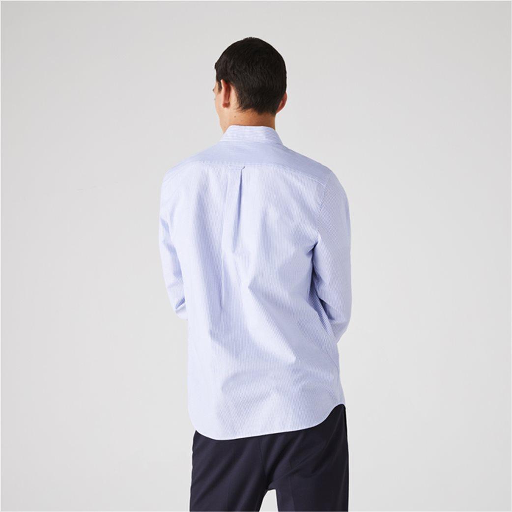 Lacoste ανδρικό πουκάμισο με ριγέ print Regular Fit Ανοιχτό Γαλάζιο 2