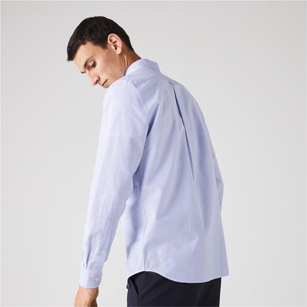 Lacoste ανδρικό πουκάμισο με ριγέ print Regular Fit Ανοιχτό Γαλάζιο 3