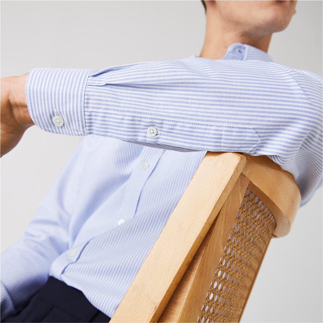 Lacoste ανδρικό πουκάμισο με ριγέ print Regular Fit Ανοιχτό Γαλάζιο 4