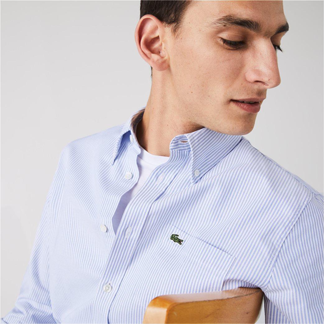 Lacoste ανδρικό πουκάμισο με ριγέ print Regular Fit Ανοιχτό Γαλάζιο 5