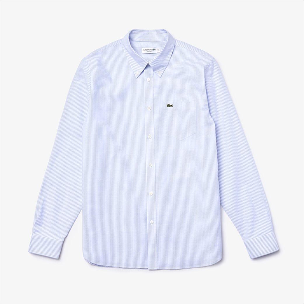 Lacoste ανδρικό πουκάμισο με ριγέ print Regular Fit Ανοιχτό Γαλάζιο 6