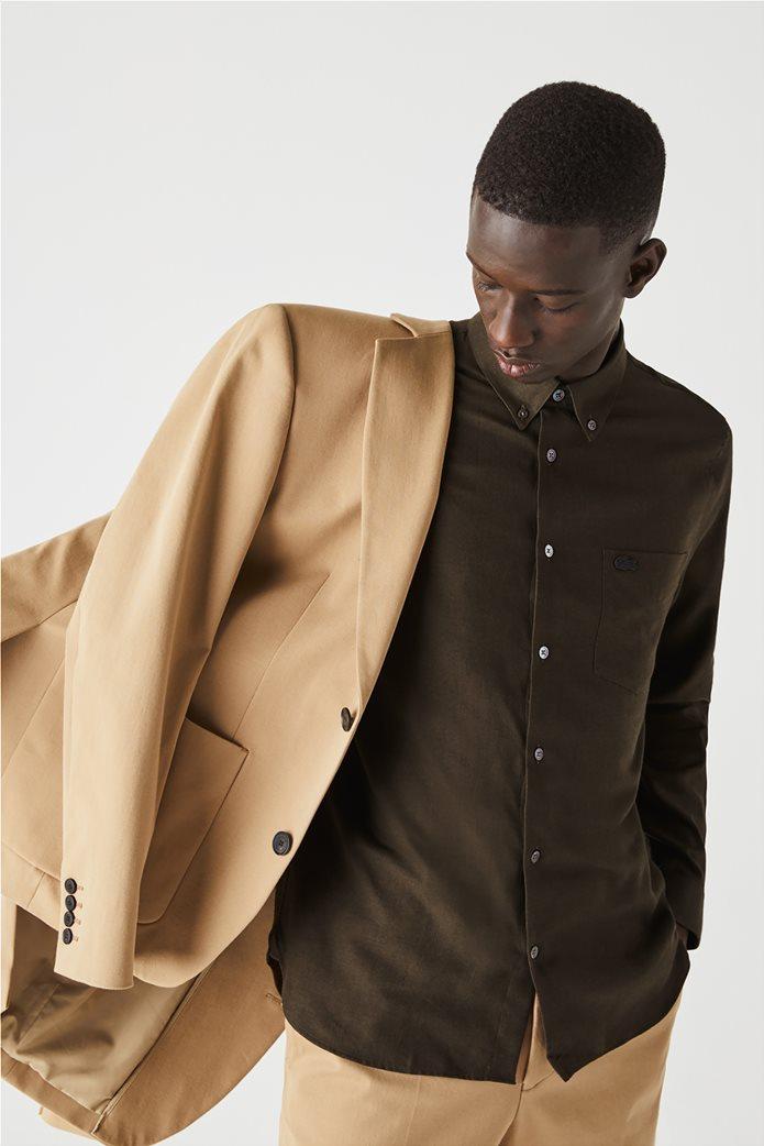 Lacoste ανδρικό πουκάμισο μονόχρωμο με μαλλί Regular Fit Χακί 0