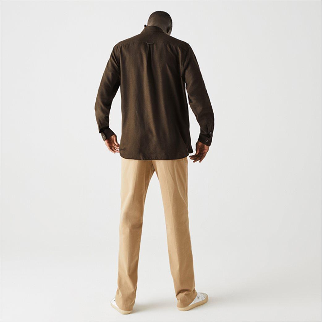 Lacoste ανδρικό πουκάμισο μονόχρωμο με μαλλί Regular Fit Χακί 3