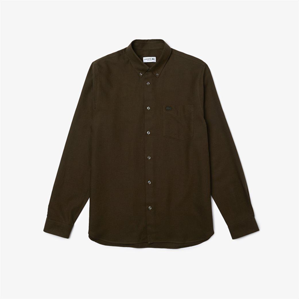 Lacoste ανδρικό πουκάμισο μονόχρωμο με μαλλί Regular Fit Χακί 4