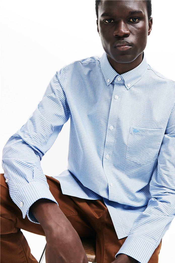 Lacoste ανδρικό καρό πουκάμισο με μία τσέπη και γιακά με κουμπιά 0