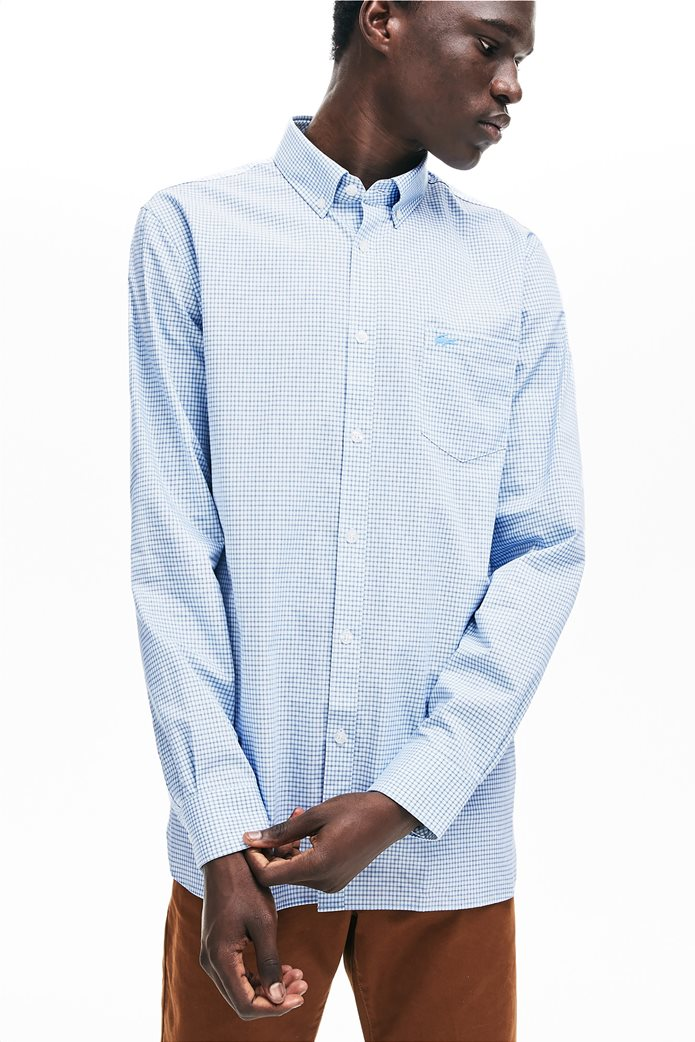 Lacoste ανδρικό καρό πουκάμισο με μία τσέπη και γιακά με κουμπιά 1