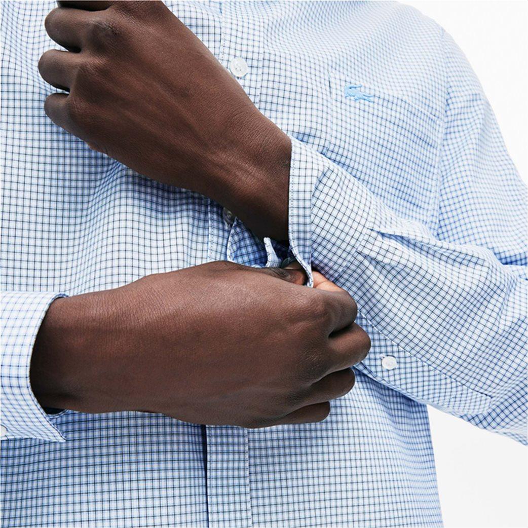 Lacoste ανδρικό καρό πουκάμισο με μία τσέπη και γιακά με κουμπιά 2