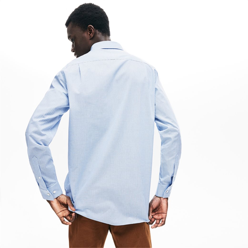 Lacoste ανδρικό καρό πουκάμισο με μία τσέπη και γιακά με κουμπιά 3