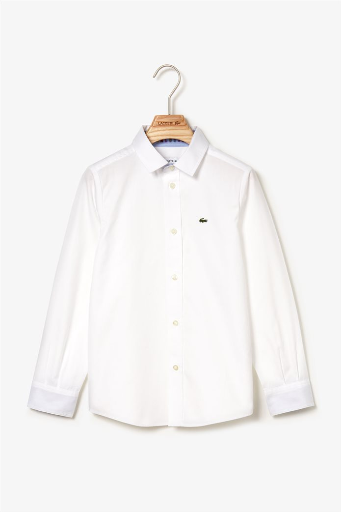 Lacoste παιδικό πουκάμισο μονόχρωμο 0