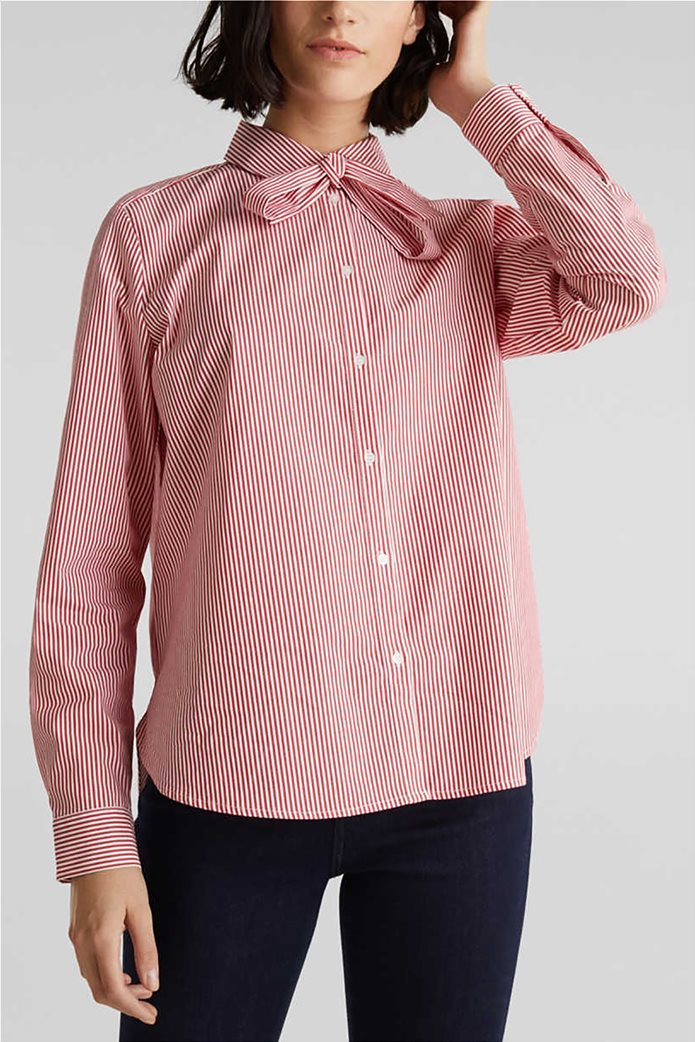 Esprit γυναικείο ριγέ πουκάμισο με φιόγκο 0