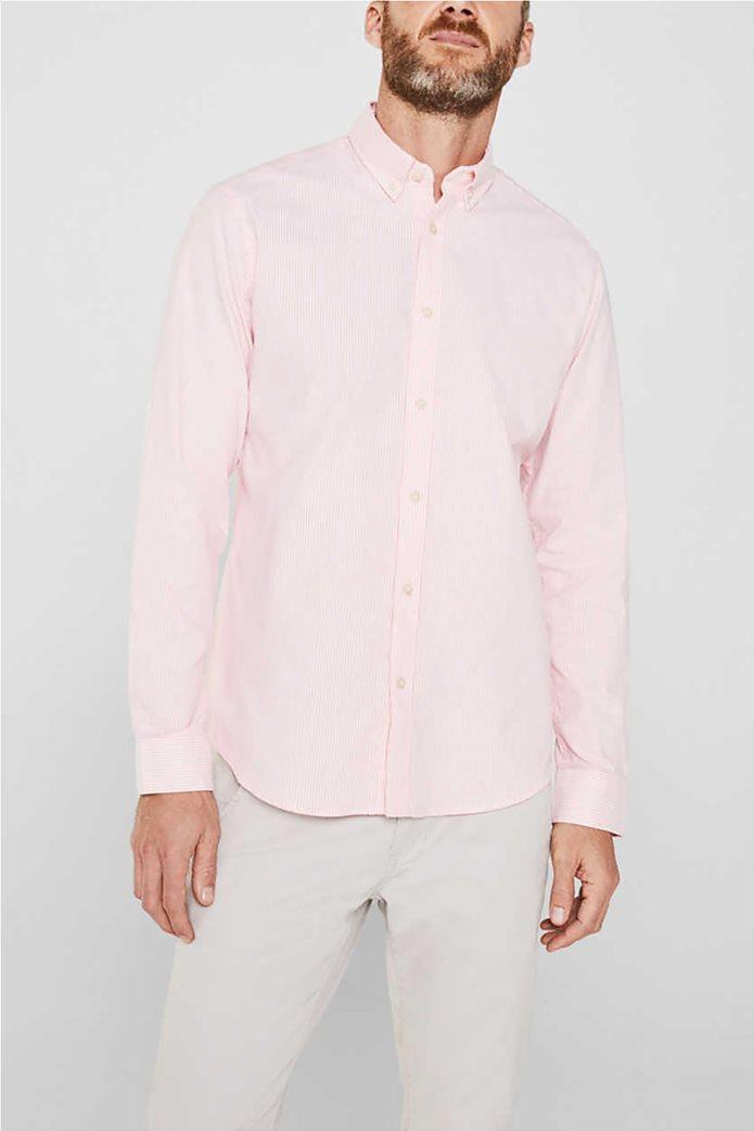Esprit ανδρικό ριγέ πουκάμισο με button-down γιακά Oxrford 0