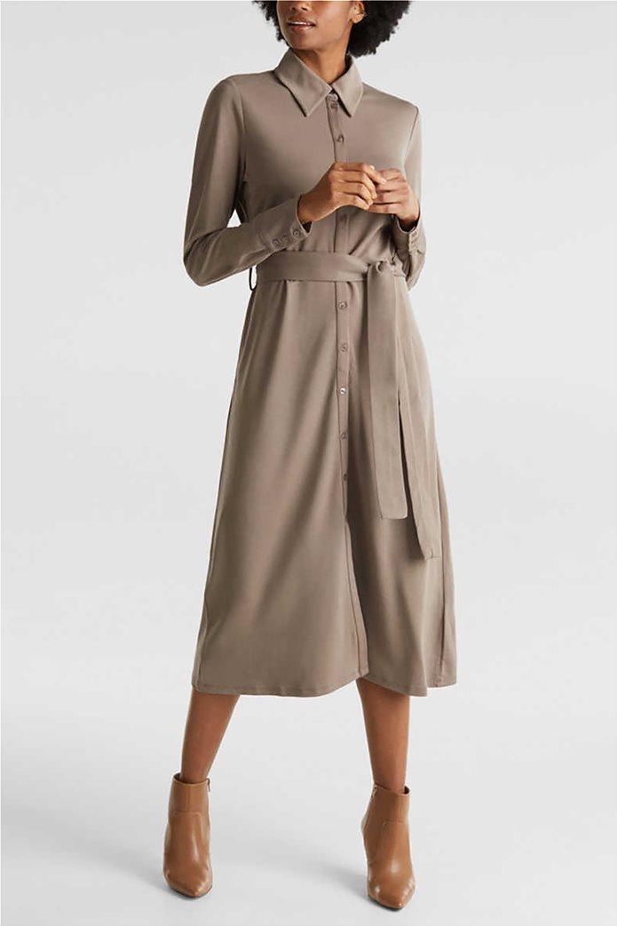 Esprit γυναικείο midi ελαστικό σεμιζιέ φόρεμα 0