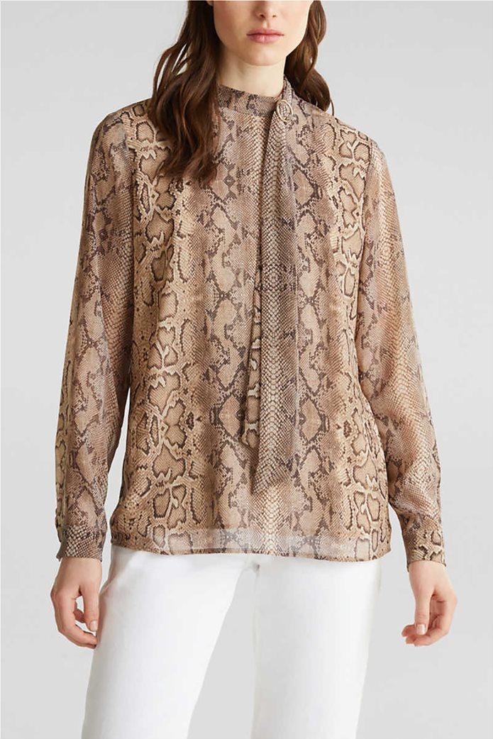 Esprit γυναικεία μπλούζα με snake print και pussycat φιόγκο 0