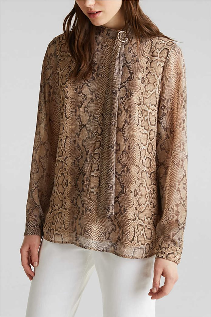 Esprit γυναικεία μπλούζα με snake print και pussycat φιόγκο 4