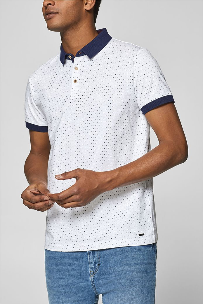 Esprit ανδρική μπλούζα πόλο με μικροσχέδιο print 0