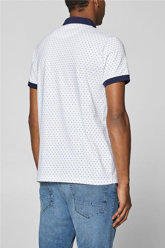 Esprit ανδρική μπλούζα πόλο με μικροσχέδιο print 3