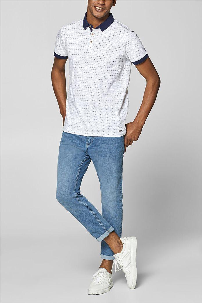 Esprit ανδρική μπλούζα πόλο με μικροσχέδιο print 4