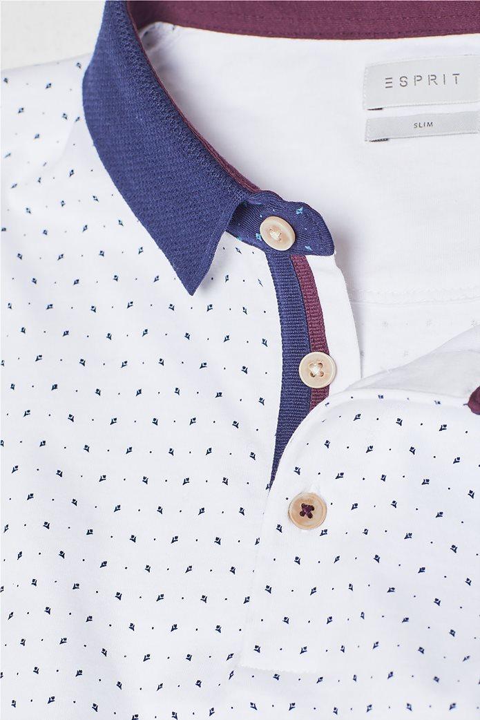Esprit ανδρική μπλούζα πόλο με μικροσχέδιο print 5
