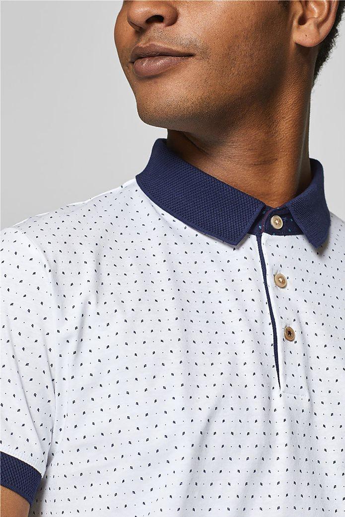 Esprit ανδρική μπλούζα πόλο με μικροσχέδιο print 6