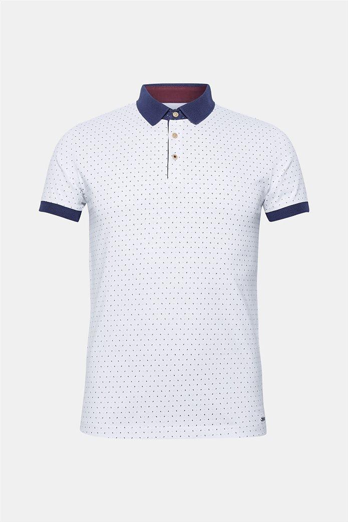 Esprit ανδρική μπλούζα πόλο με μικροσχέδιο print 7