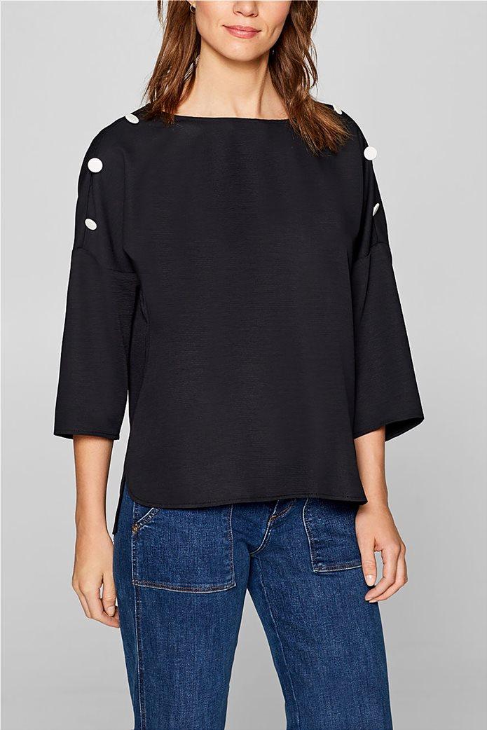 Esprit γυναικεία μπλούζα με κουμπιά στους ώμους 0