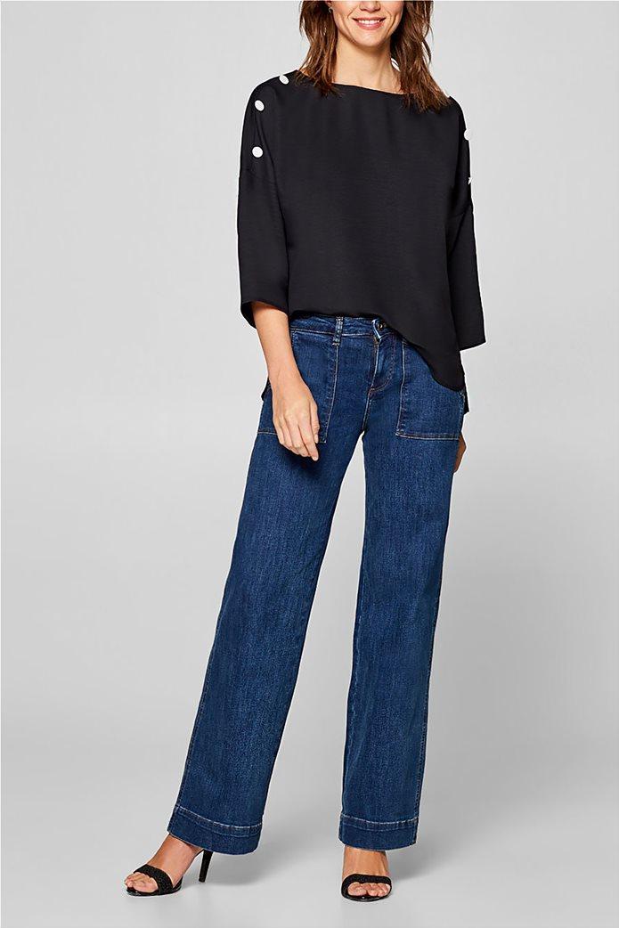 Esprit γυναικεία μπλούζα με κουμπιά στους ώμους 1