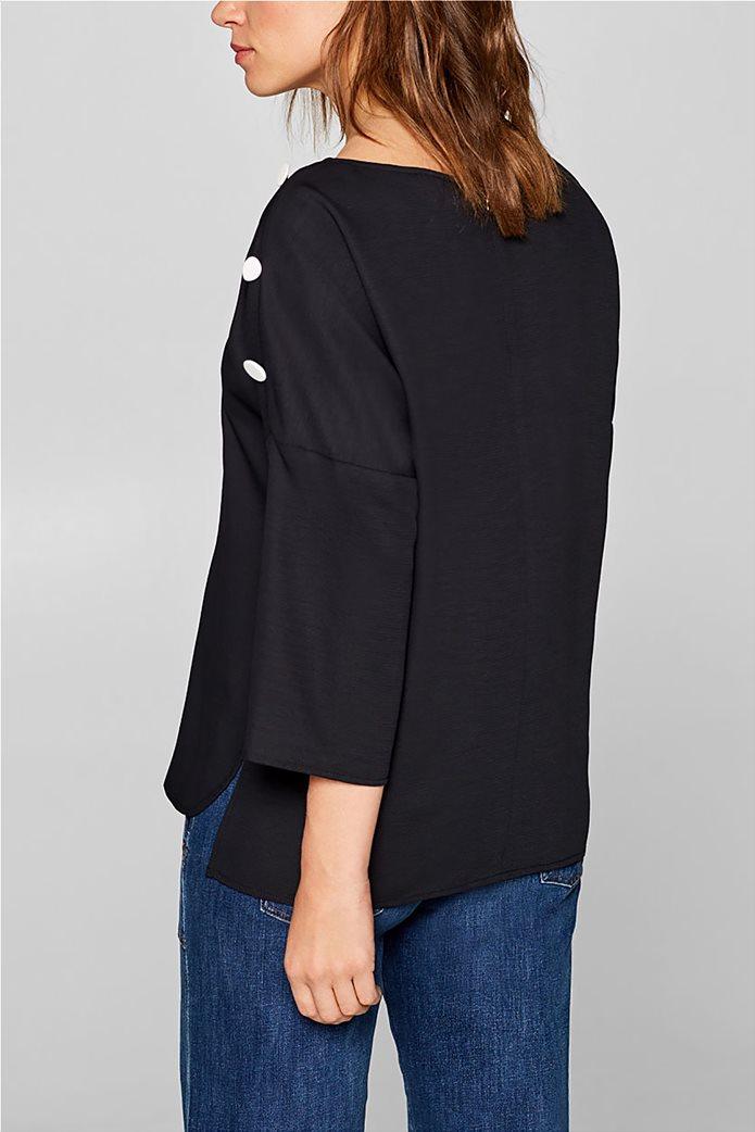 Esprit γυναικεία μπλούζα με κουμπιά στους ώμους 2