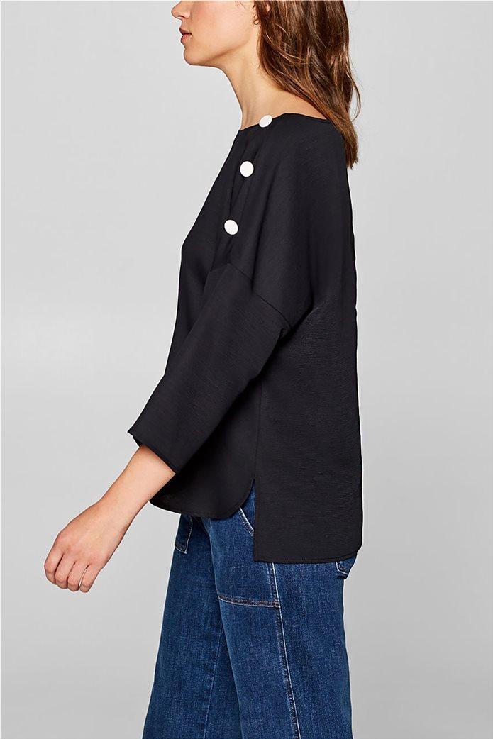 Esprit γυναικεία μπλούζα με κουμπιά στους ώμους 3