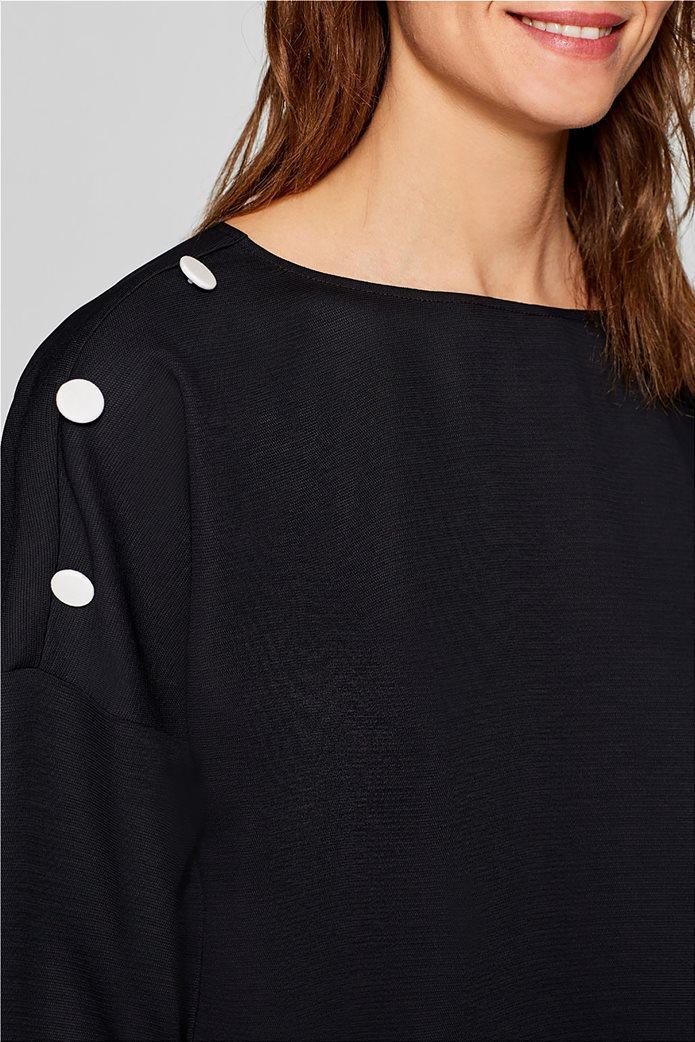 Esprit γυναικεία μπλούζα με κουμπιά στους ώμους 4