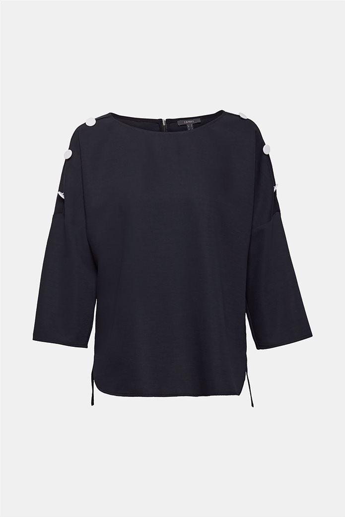 Esprit γυναικεία μπλούζα με κουμπιά στους ώμους 7