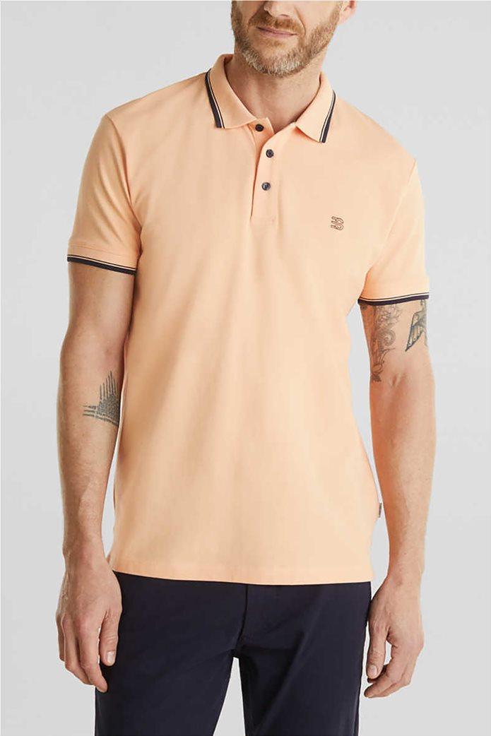 Esprit ανδρική polo μπλούζα με κεντημένο λογότυπο 0