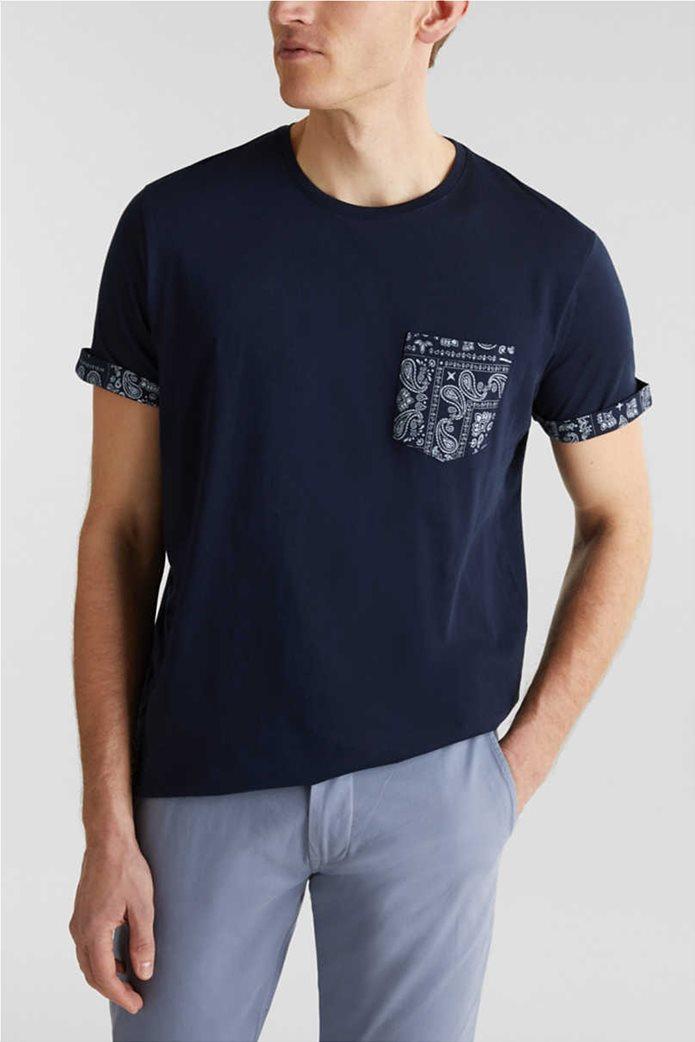 Esprit ανδρικό T-shirt με μία τσέπη με print λαχούρια 0