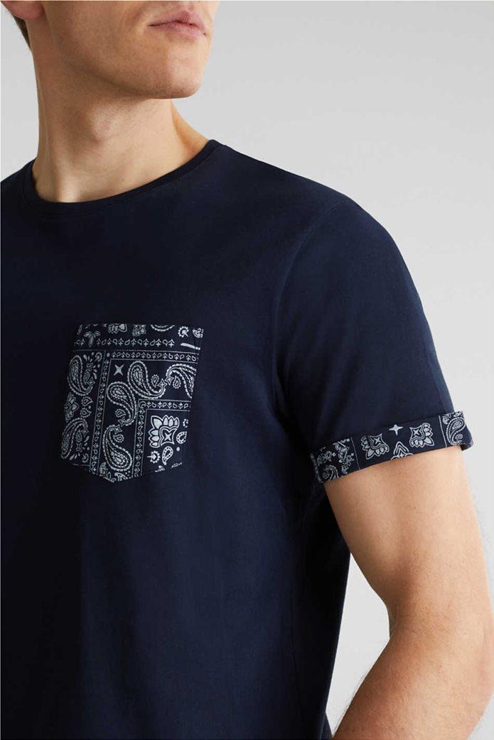 Esprit ανδρικό T-shirt με μία τσέπη με print λαχούρια 1