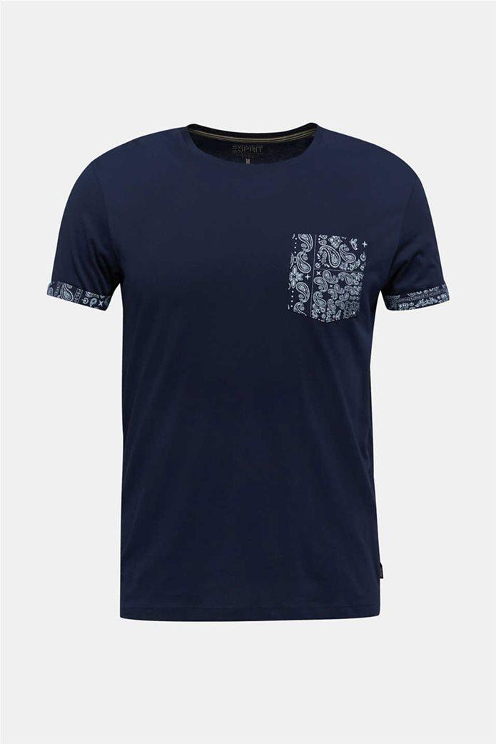Esprit ανδρικό T-shirt με μία τσέπη με print λαχούρια 5