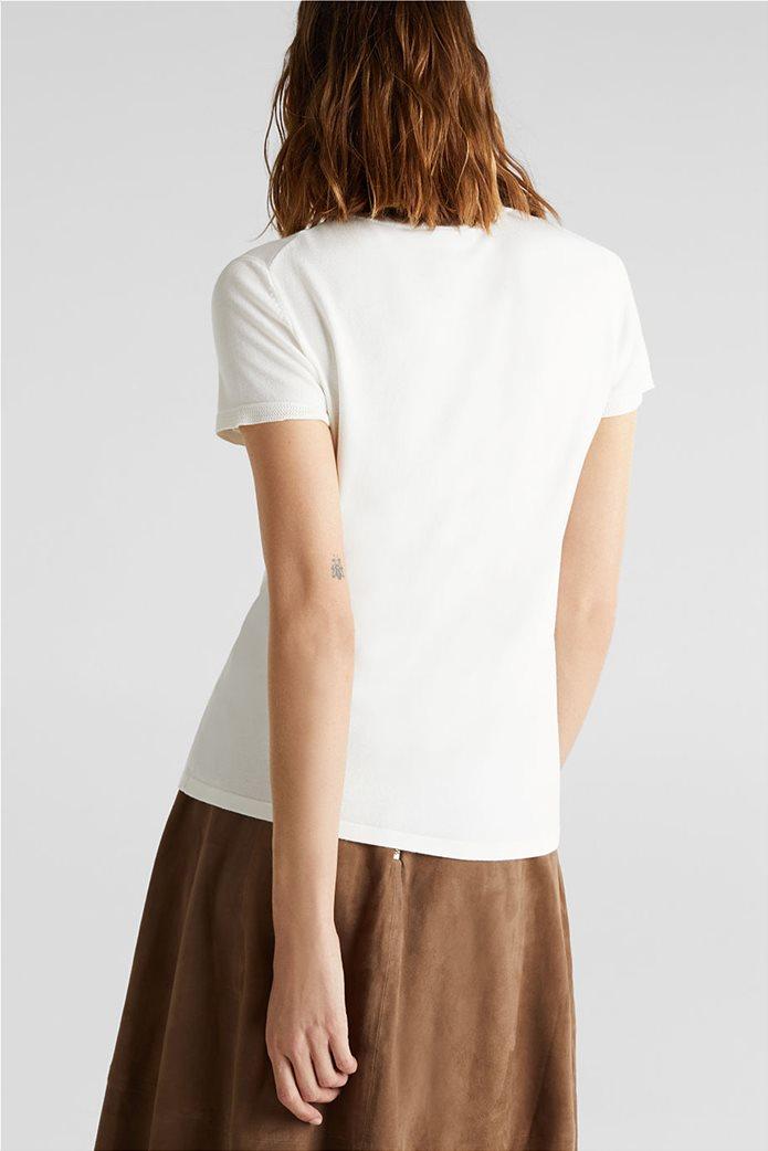 Esprit γυναικείο πλεκτό μονόχρωμο μπλουζάκι 2