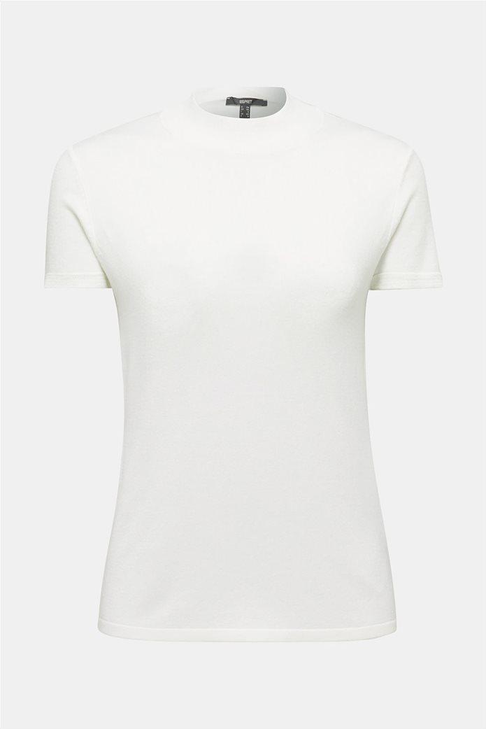 Esprit γυναικείο πλεκτό μονόχρωμο μπλουζάκι 3