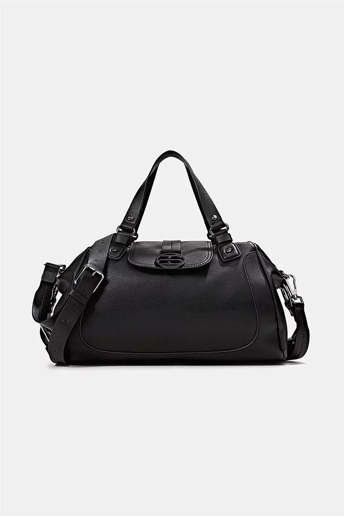 Esprit γυναικεία τσάντα ώμου με μεταλλικό λογότυπο και διακοσμητικές αγκράφες Μαυρο 0