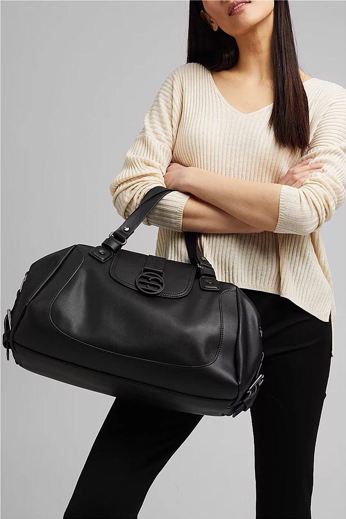 Esprit γυναικεία τσάντα ώμου με μεταλλικό λογότυπο και διακοσμητικές αγκράφες Μαυρο 1