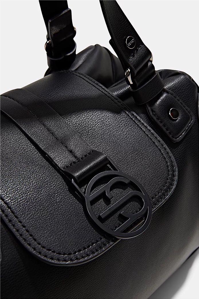 Esprit γυναικεία τσάντα ώμου με μεταλλικό λογότυπο και διακοσμητικές αγκράφες Μαυρο 3