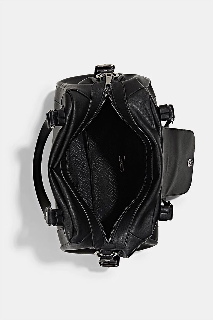 Esprit γυναικεία τσάντα ώμου με μεταλλικό λογότυπο και διακοσμητικές αγκράφες Μαυρο 4