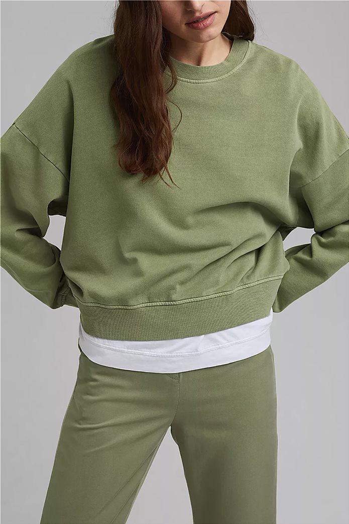 Esprit γυναικεία φούτερ μπλούζα μονόχρωμη με στρογγυλή λαιμόκοψη Λαδί 0