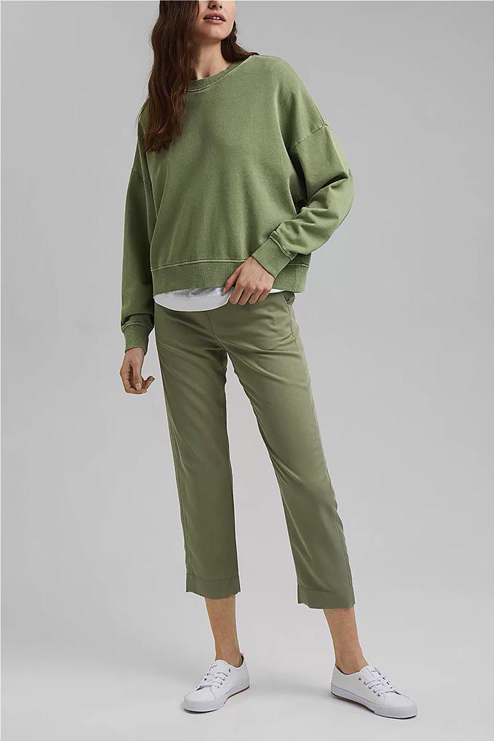 Esprit γυναικεία φούτερ μπλούζα μονόχρωμη με στρογγυλή λαιμόκοψη Λαδί 1