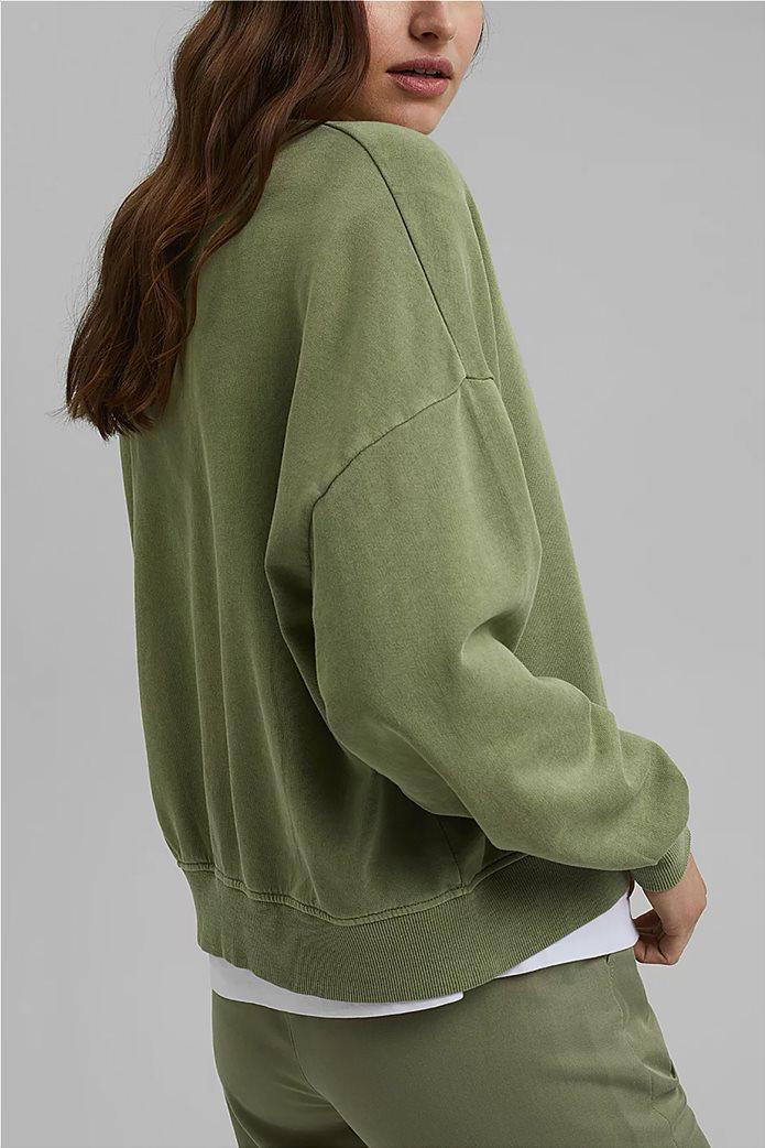 Esprit γυναικεία φούτερ μπλούζα μονόχρωμη με στρογγυλή λαιμόκοψη Λαδί 3