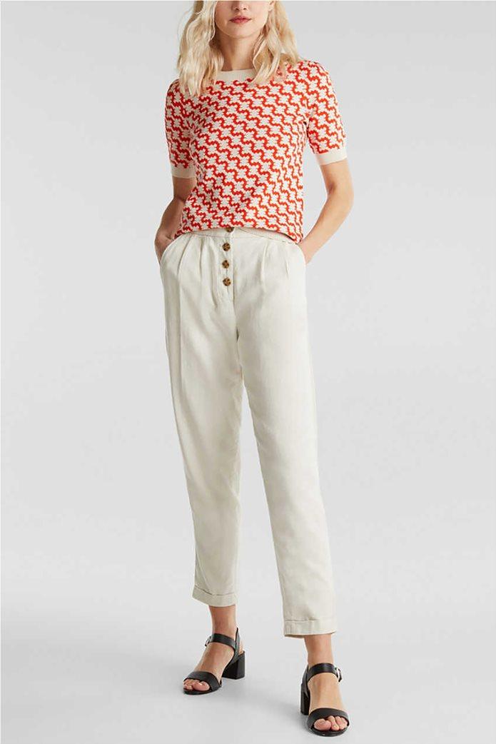 Esprit γυναικείο παντελόνι chino λινό με κουμπιά και πιέτες 0
