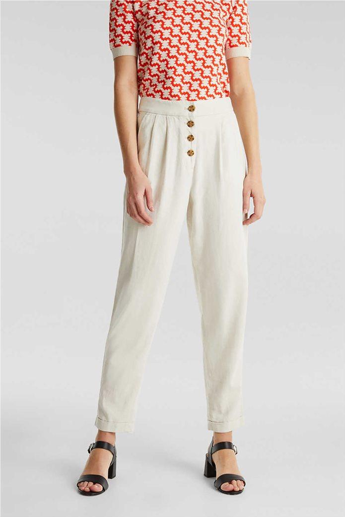 Esprit γυναικείο παντελόνι chino λινό με κουμπιά και πιέτες 1