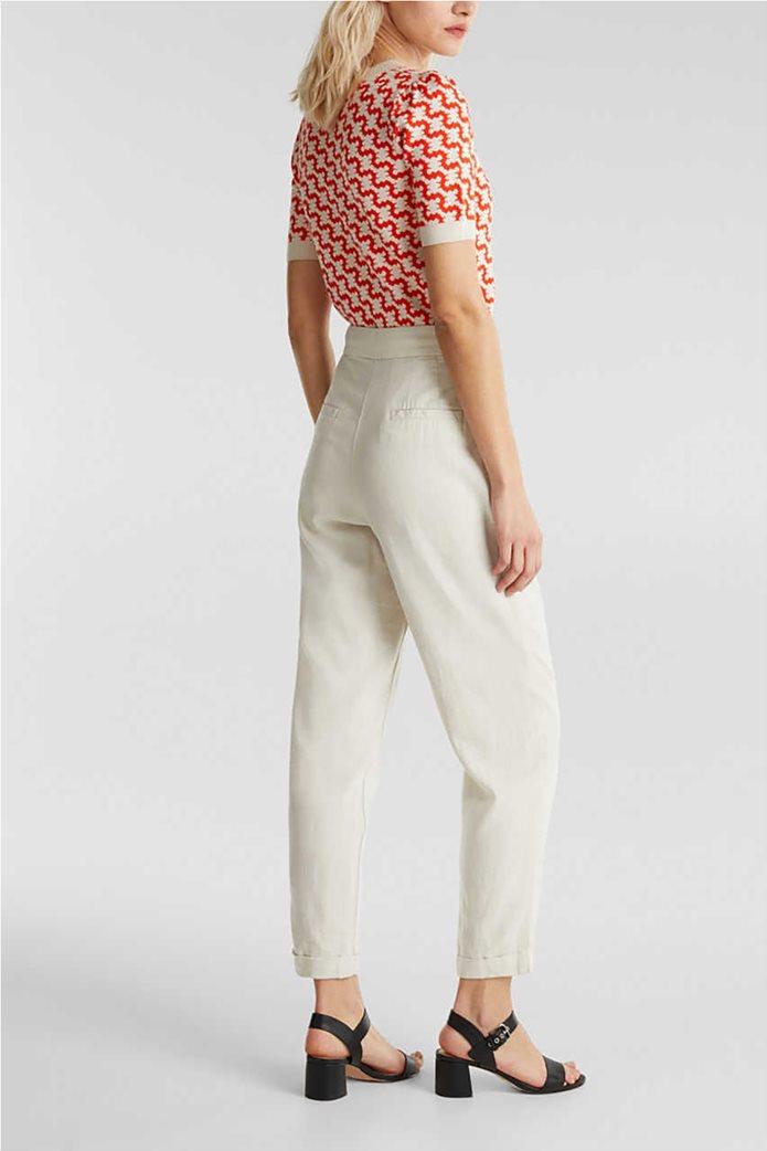 Esprit γυναικείο παντελόνι chino λινό με κουμπιά και πιέτες 2