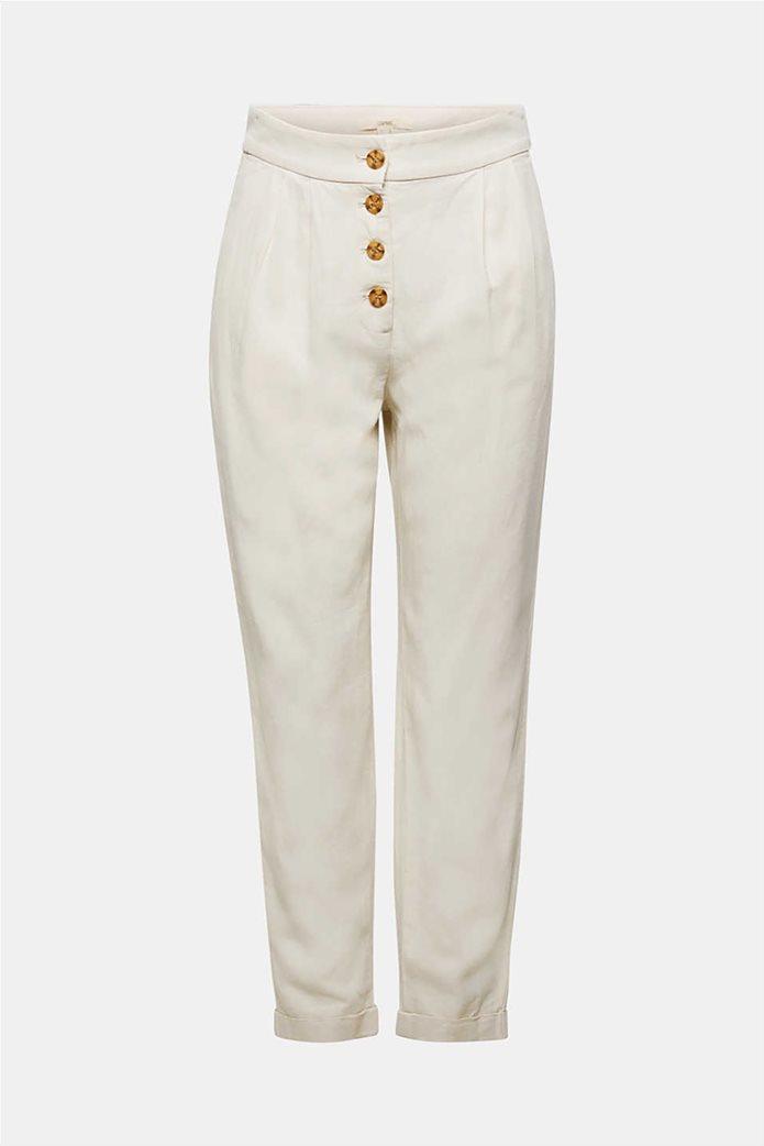 Esprit γυναικείο παντελόνι chino λινό με κουμπιά και πιέτες 3