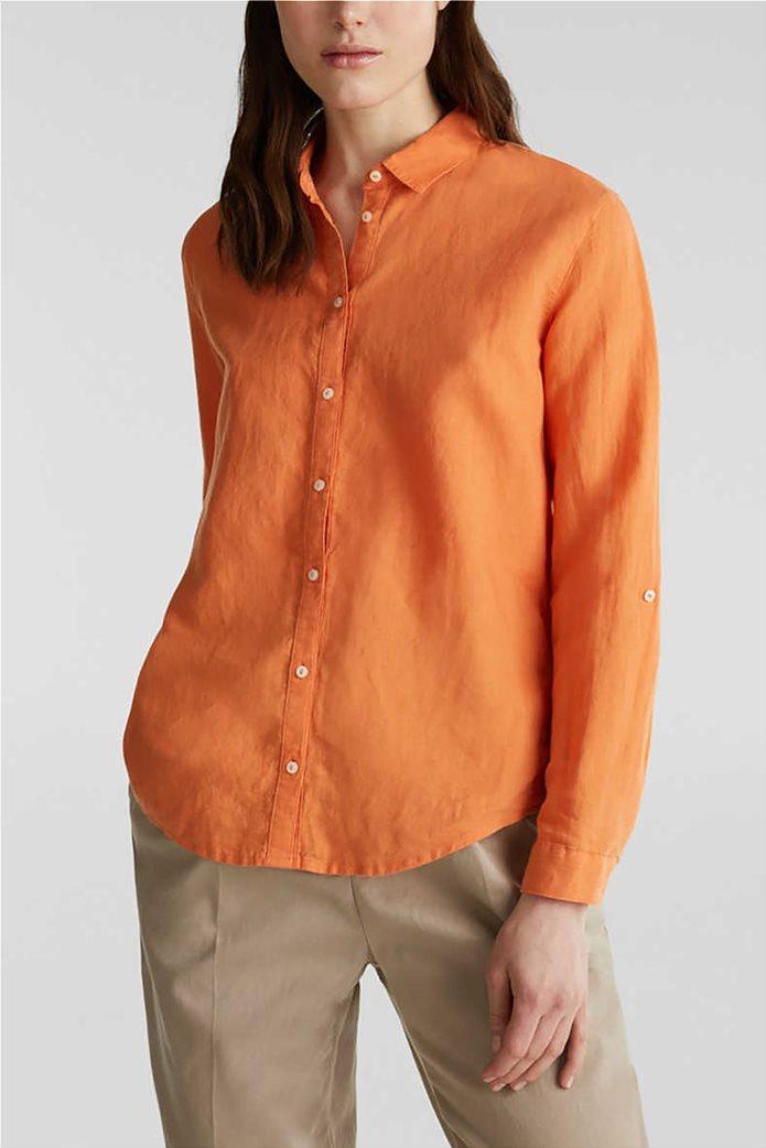 Esprit γυναικείο πουκάμισο λινό μονόχρωμο 0