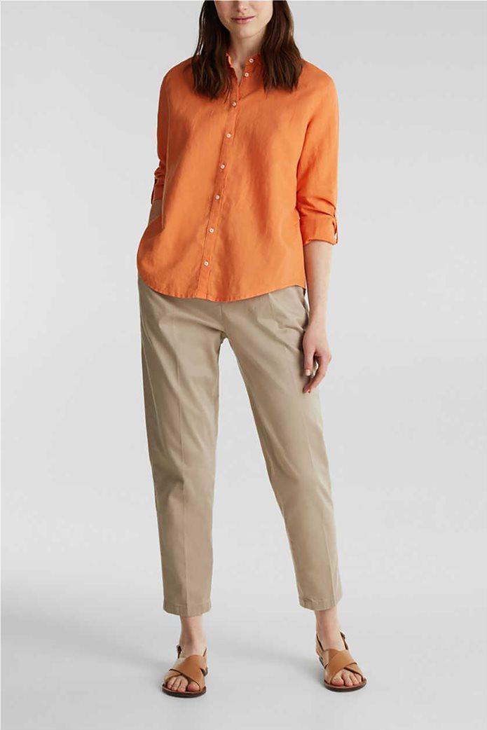 Esprit γυναικείο πουκάμισο λινό μονόχρωμο 1