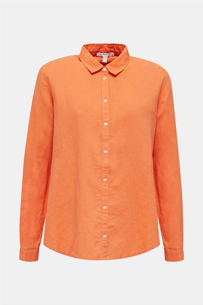 Esprit γυναικείο πουκάμισο λινό μονόχρωμο 3